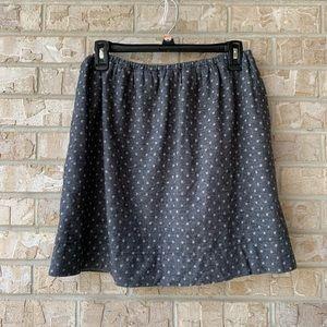 LOFT Soft Grey Polkadot Skirt Pocket Size Small